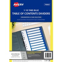 Divider Avery Polyprop Blue 1 To 10 Tabs 85810
