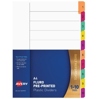 Divider A4 Avery Mylar White Printed Fluoro Tabs 1 to 10 85723