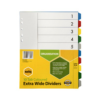 Extra Wide Dividers A4 PP 10 Tab Multi colour Marbig 36200 - set (10)