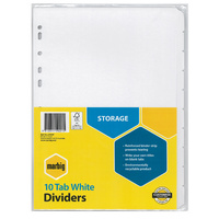 Dividers Marbig Manilla White A4 10 tab with reinforced strip 37400 - set