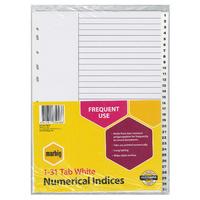 Numerical Indices A4 PP 1-31 White Marbig 35041 - set 31