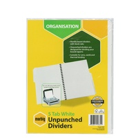 Dividers Marbig Manilla White A4 5 tab unpunched 37305 - set