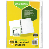 Dividers Marbig Manilla White A4 10 tab unpunched 37405 - set 10