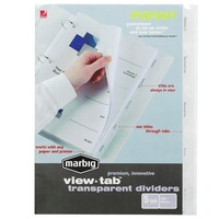 Dividers Marbig View Tab A4 PP 5 Tab Clear 37825 - set