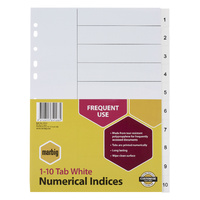 Indices Marbig Numerical A4 PP 1-10 White 35121 - set 10 dividers PolyProp