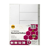 Indices Marbig Numerical A4 PP 1-5 Grey 35100 - set 5