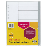 Indices Marbig Numerical A4 PP 1-10 Grey 35120 - set 10