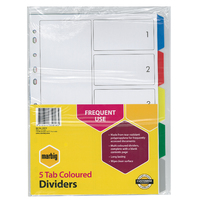 Dividers Marbig PP Multi A4 PP 5 tab 35010 - set