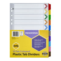 Dividers Marbig Plastic Tab Coloured Dividers A4 Board 10 Reinforced Tab 35017 - set 10