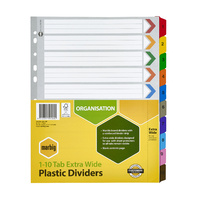 Extra Wide Dividers A4 Board 1-10 Tab Reinforced Tab Multi colour Marbig 36250 - set 10