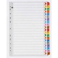 Dividers Marbig Board with Plastic Tab Coloured A4 Board 1-20 Reinforced Tab 35023 - set 20