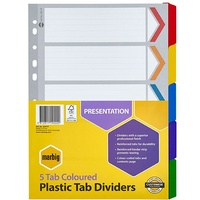Dividers Marbig Plastic Tab Coloured Dividers A4 Board 5 Reinforced Tab 35011 - set 5