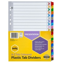 Dividers Marbig Plastic Tab Coloured Dividers A4 Board A-Z Reinforced Tab 35024F - set 26 AC35024
