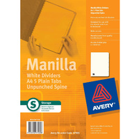 Divider A4 Avery Plain Manilla White Unpunched 5 Tab 97905 - set