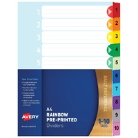 Divider A4 Avery Mylar White 1 to 10 Tab Rainbow Tabs 88710