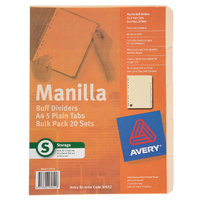 Dividers Avery A4 5 Tab Manilla Buff punched 11 holes Bulk pack 97052 - pack 20