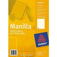 Dividers Avery A4 5 Tab Manilla Buff punched 11 holes Handi pack 97059 - set