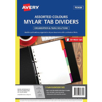Divider A4 Avery Mylar White Rip Proof Plain Fluoro Tabs 5 Tab 85732