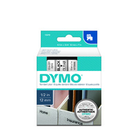 Label Tape Dymo D1 12mm x7m Black on Clear Tape 345010 - each
