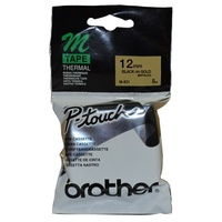 Brother P Touch Tape M831 12mm x 8M Non Laminated Black on Gold - each