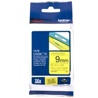 Brother TZe621 9mm x 8m Black on Yellow TZ-621 P-Touch - each