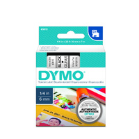 Label Tape Dymo D1 - 6mm x7m Black on Clear Tape 343610 - each