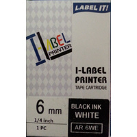 Labeller tape Casio . 6mm BLACK on White 8 metre Casio XR6WE - each