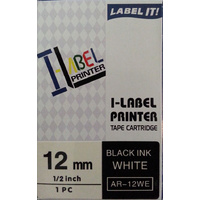 Labeller tape Casio 12mm Black on White 8 metre Casio - nen-q6046494