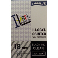 Labeller tape Casio 18mm Black on Clear XR18X - each