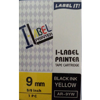 Labeller tape Casio . 9mm BLACK on YELLOW 8 metre Casio XR9YW - each