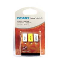 Label Maker LetraTag 12mm Starter kit 3 roll Tapes Dymo SD91240 - Paper Plastic Metal