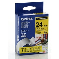 Brother TZe651 24mm x 8m BLACK on YELLOW TZ-651 P-Touch - each