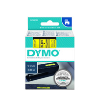 Label Tape Dymo D1 - 9mm x7m Black on Yellow Tape SD40918 - each