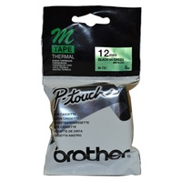 Brother P Touch Tape M731 12mm Black on Green - each