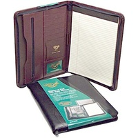 Compendium Waterville Bonded Leather Zippered Note Holder Burgundy WB32A4bur - each