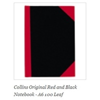 NoteBook A6 100 Leaf 200 pages Ruled Collins 06100 Black and Red ruled sold per book
