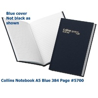 NoteBook Feint Ruled 384 pages A5 Blue Collins 05700 - Hard cover case bound