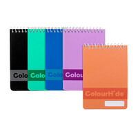 NoteBook Pocket Spiral 96 page 112x77mm assorted colours - pack 5
