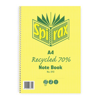 NoteBook A4 Spiral 120 Page 70% Recycled Spirax 800 - pack 5