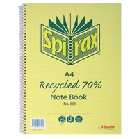 NoteBook A4 Spiral 240 Page 70% Recycled Spirax 811 - pack 5