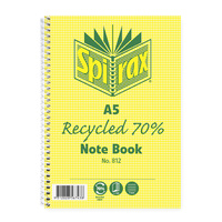 NoteBook A5 Spiral 120 Page 70% Recycled Spirax 812 - pack 5