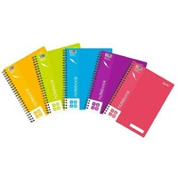 NoteBook Lecture A4 Quill Shades Spiral C906A Coloured Cover - pack 5