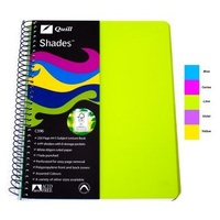 NoteBook A4 5 Subject Quill Shades Spiral C596 Coloured Cover - pack 5