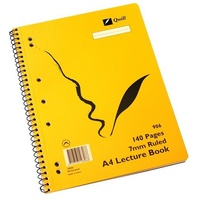 Lecture Book A4 140 page Spiral Quill Gold 906 - pack 10
