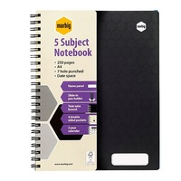 NoteBook A4 5 Subject 250 Page Side Spiral Accohide 17189 Black - pack 5