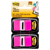 Post-It Flag 3M 680 BP2 Twin Pack Bright Pink Post-it® Flags,25mm, 50/Dispenser, 100/Pack