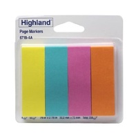 Page Marker Highland 6719 4A 22 x 73mm Assorted Bright Pack 200 3M