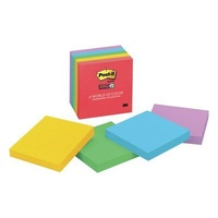 Stick on notes 75x75 Assorted NEON super sticky Colours 3m 654-5ssan - pack 5