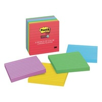 Post It Note Super Sticky 675 6SSAN Lined Assorted Neon 98mm x 98mm - Pack 6