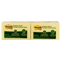 Stick on Notes * 75x125 Yellow recycled 3M 655rp 0378430 - pack 12